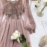 Женское невероятно красивое гипюровое платье в горошек со вставками кружева, фото 3