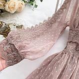 Женское невероятно красивое гипюровое платье в горошек со вставками кружева, фото 4