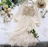 Женское невероятно красивое гипюровое платье в горошек со вставками кружева, фото 5