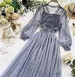 Женское невероятно красивое гипюровое платье в горошек со вставками кружева, фото 6