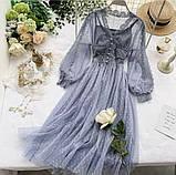 Женское невероятно красивое гипюровое платье в горошек со вставками кружева, фото 7
