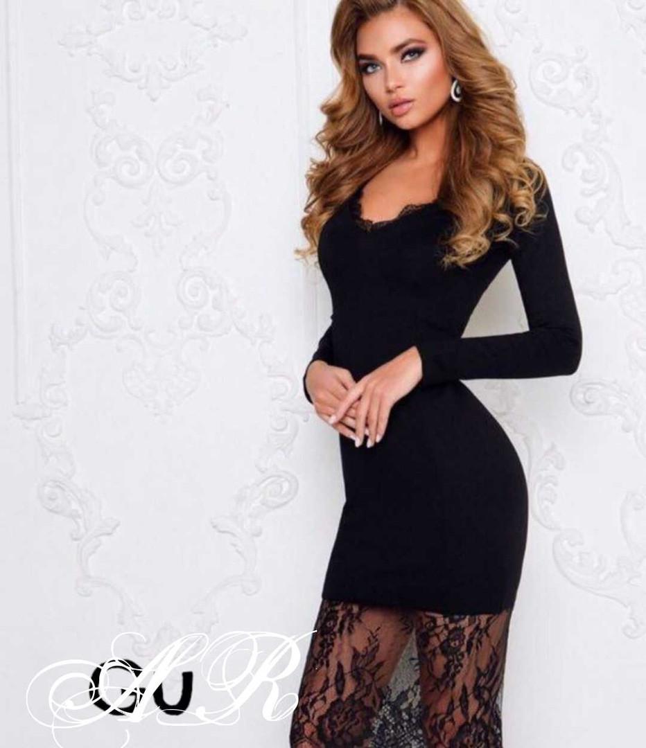 Модное стильное женское  платье из коттона с кружевом