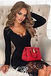 Модное стильное женское  платье из коттона с кружевом, фото 2