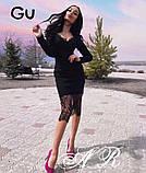 Модное стильное женское  платье из коттона с кружевом, фото 3