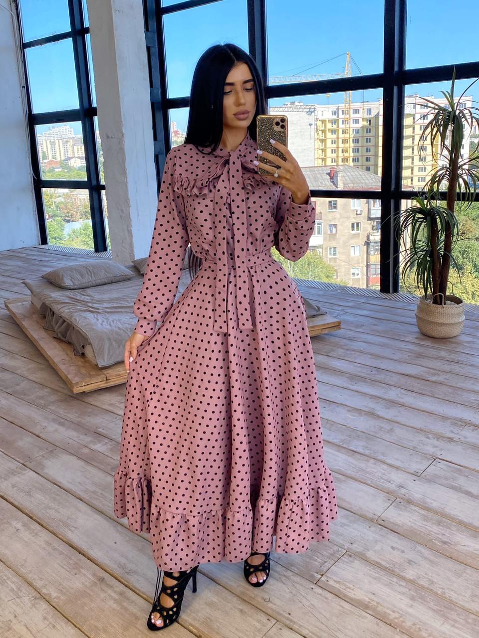 Женское Платье в горошек с оборкой