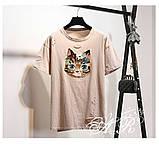 Женская интересная футболка в стиле Casual Киса, фото 4