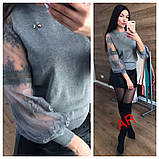 Женский свитер машинная вязка рукав из гипюра, фото 7