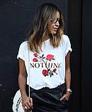Женская трендовая  футболка с розами, фото 3