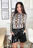 Женские трендовые шорты из эко кожи с пояском, фото 3