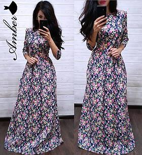 Коттоновое платье в пол с цветочным принтом
