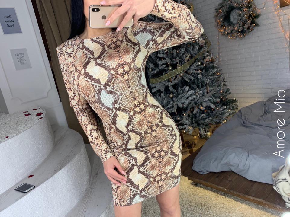Нарядное женское роскошное платье с змеиным принтом