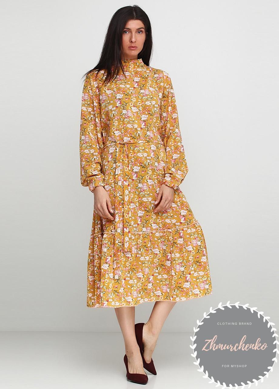 Женское легкое нежное  платье миди в мелкий цветочный принт