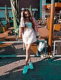 Женское легкое нежное  платье молочное с чокером в цветочный принт, фото 2
