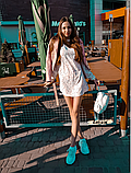 Женское легкое нежное  платье молочное с чокером в цветочный принт, фото 3