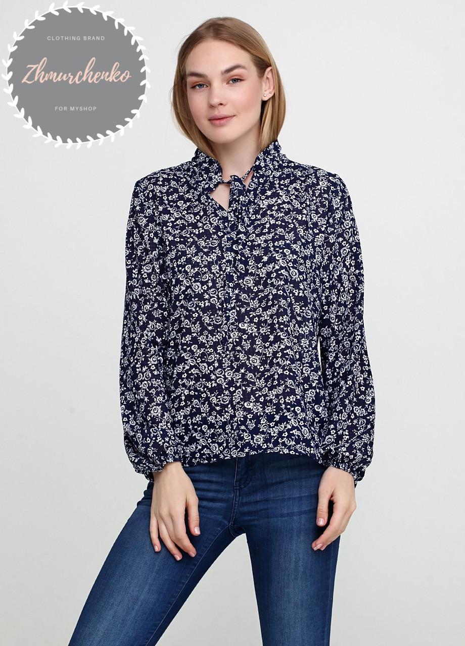 Женская легкая блуза из софта в цветочный принт