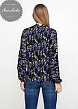 Женская легкая блуза софт в цветочный мелкий принт сирень, фото 3