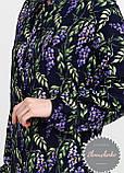 Женская легкая блуза софт в цветочный мелкий принт сирень, фото 4