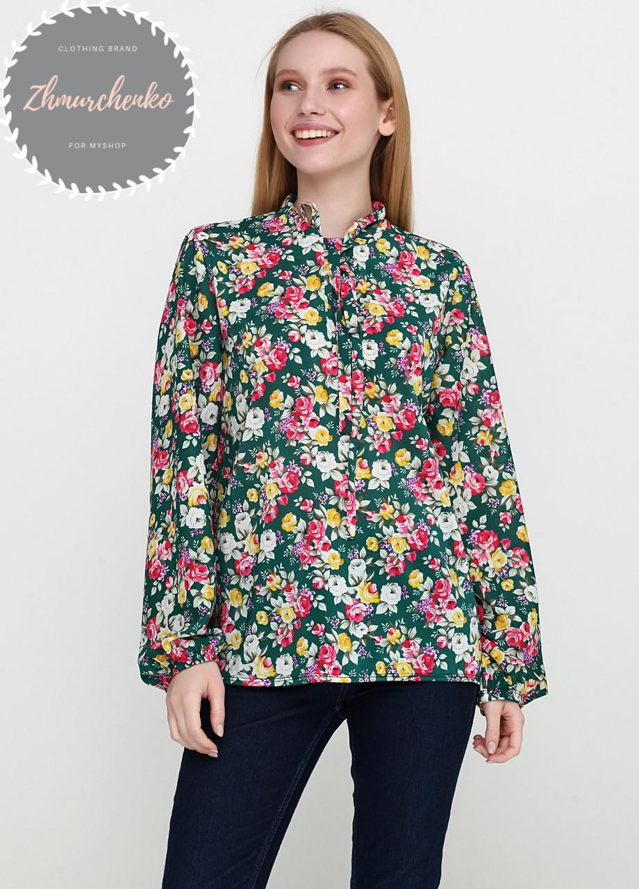 Женская легкая блуза софт в цветочный мелкий принт зеленая