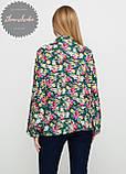 Женская легкая блуза софт в цветочный мелкий принт зеленая, фото 2