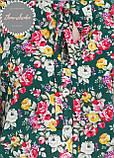 Женская легкая блуза софт в цветочный мелкий принт зеленая, фото 3