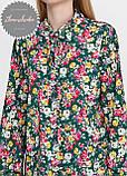 Женская легкая блуза софт в цветочный мелкий принт зеленая, фото 4