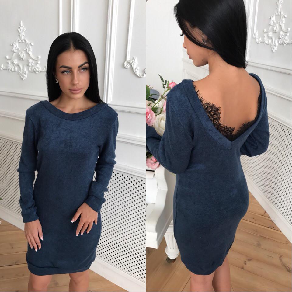 Женское стильное трендовое платье из ангоры