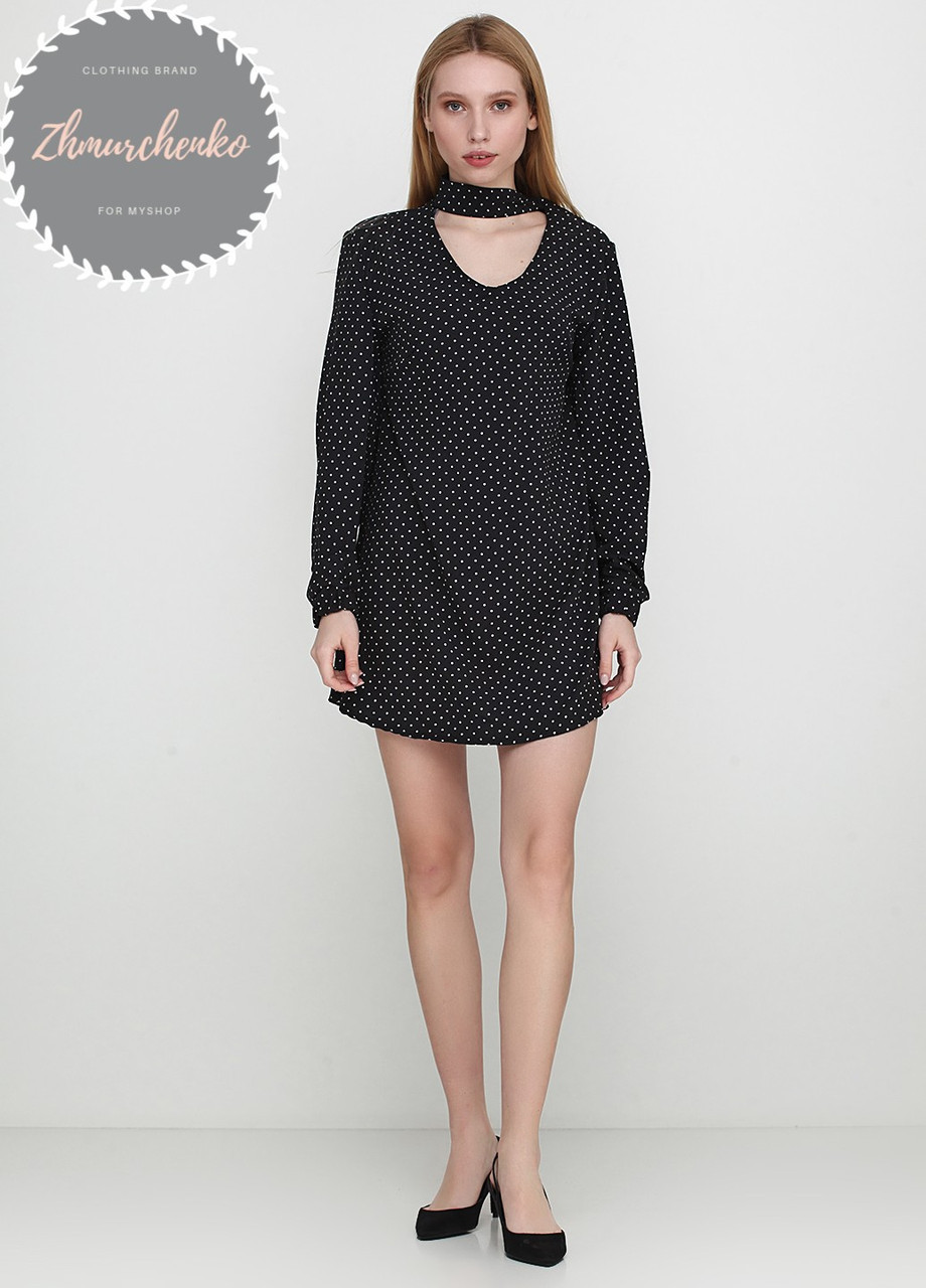 Женское легкое нежное  платье с чокером черное в горох