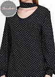 Женское легкое нежное  платье с чокером черное в горох, фото 3