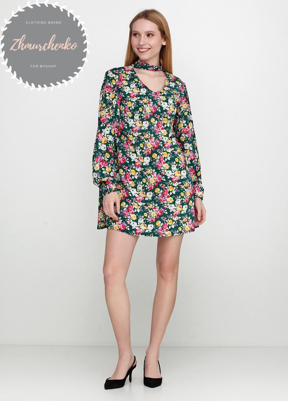 Женское легкое нежное  платье  с чокером в цветочный принт