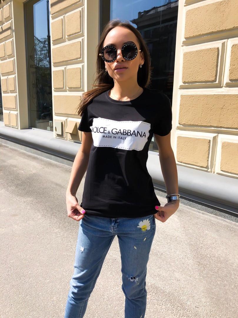 Женская летняя стильная футболка с надписью