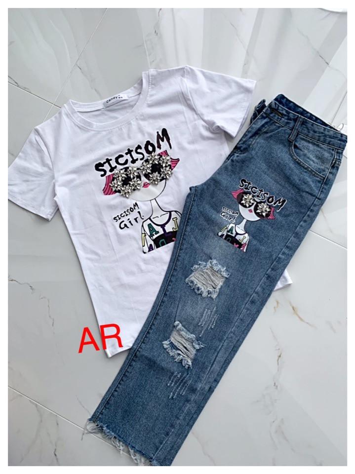 Женский  костюм джинсы и футболка Девочка