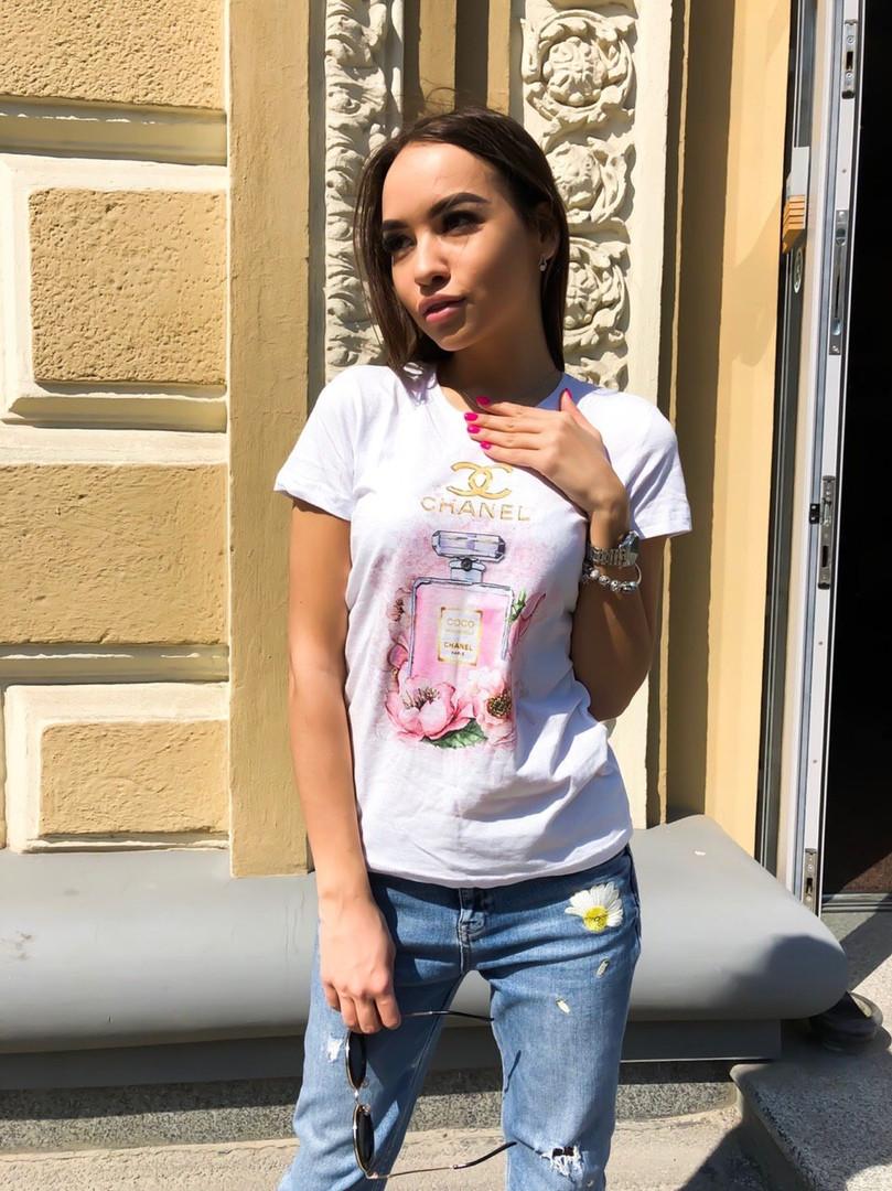 Женская летняя стильная футболка с рисунком Духи