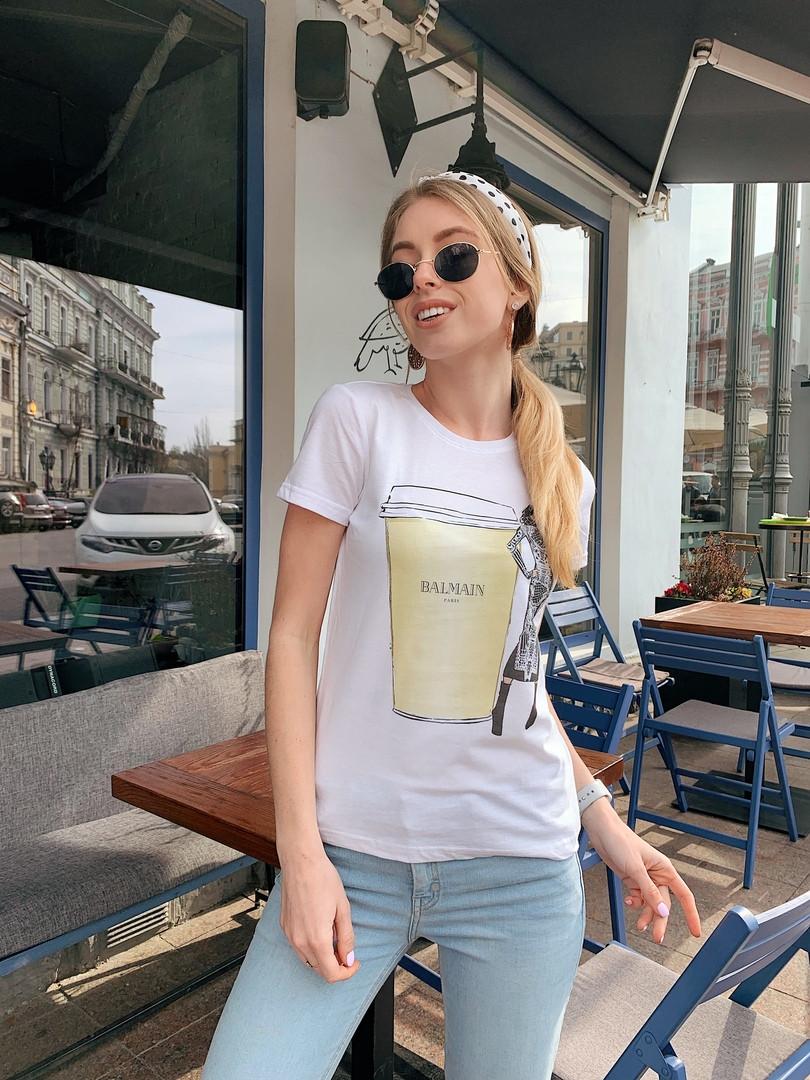Женская летняя стильная футболка из хлопка Кофе