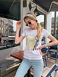 Женская летняя стильная футболка из хлопка Кофе, фото 2