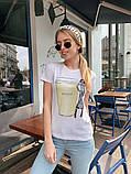 Женская летняя стильная футболка из хлопка Кофе, фото 3