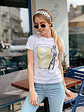 Женская летняя стильная футболка из хлопка Кофе, фото 5