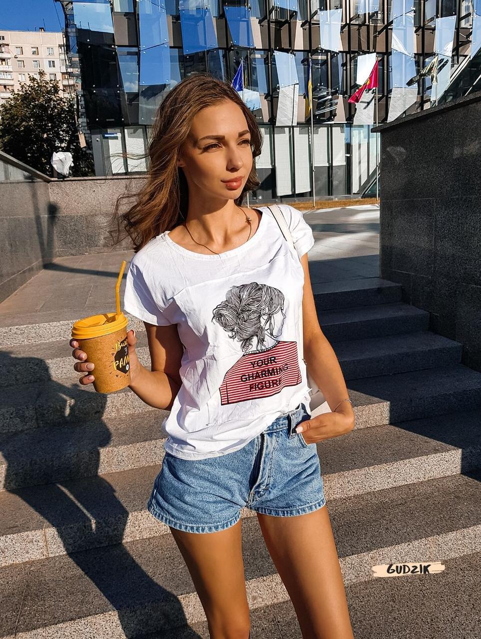 Женская красивая футболка женская белая  с силуэтом девушки