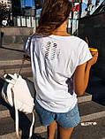 Женская красивая футболка женская белая  с силуэтом девушки, фото 6