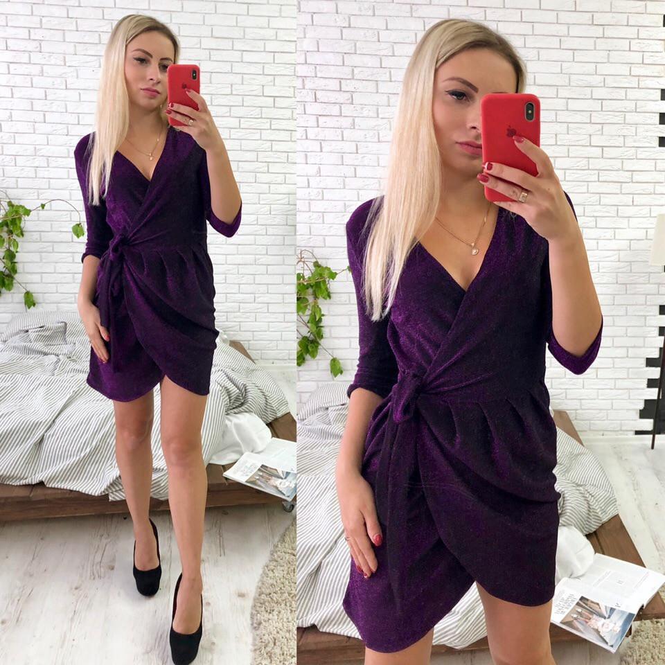 Модное платье на запах из люрекса