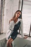 Женское стильное платье-рубашка с имитацией little black dress Н-487, фото 3