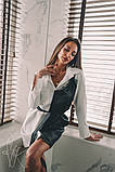Жіноче стильне плаття-сорочка з імітацією little black dress Н-487, фото 3