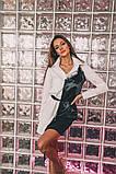 Женское стильное платье-рубашка с имитацией little black dress Н-487, фото 5