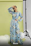 Женское модное длинное платье из шелка с принтом, фото 3