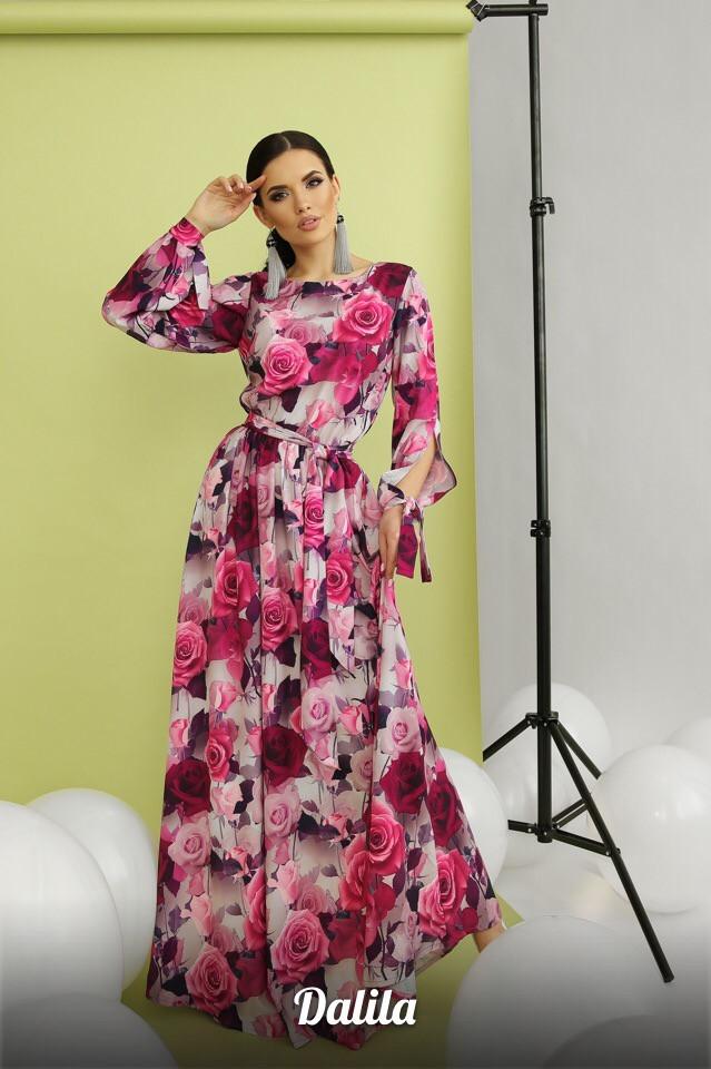 Женское модное длинное платье из софта с принтом