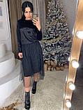 Стильное женское роскошное платье из мраморного бархата, фото 3