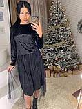 Стильное женское роскошное платье из мраморного бархата, фото 4