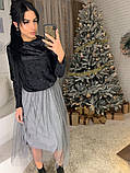 Стильное женское роскошное платье из мраморного бархата, фото 6