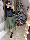 Стильное женское роскошное платье из мраморного бархата, фото 8