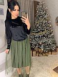 Стильное женское роскошное платье из мраморного бархата, фото 9