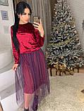 Стильное женское роскошное платье из мраморного бархата, фото 10